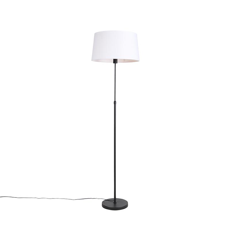 Lampa podłogowa regulowana czarna klosz lniany biały 45cm - Parte
