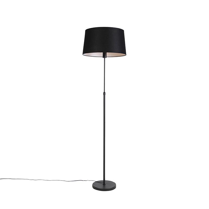 Zwarte vloerlamp met linnen kap zwart 45cm - Parte
