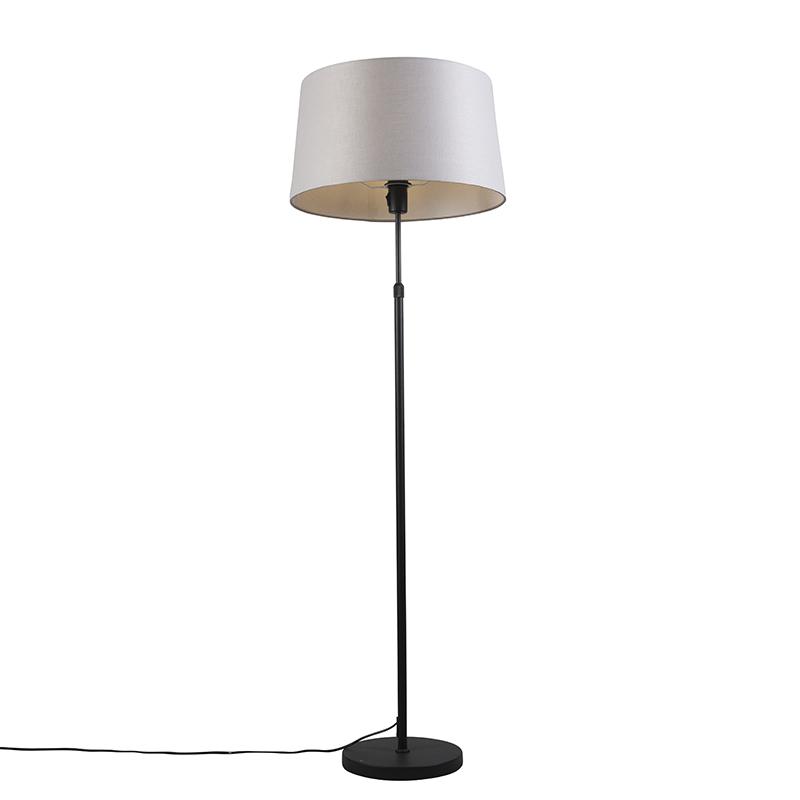 Vloerlamp zwart met lichtgrijze kap 45 cm verstelbaar - Parte