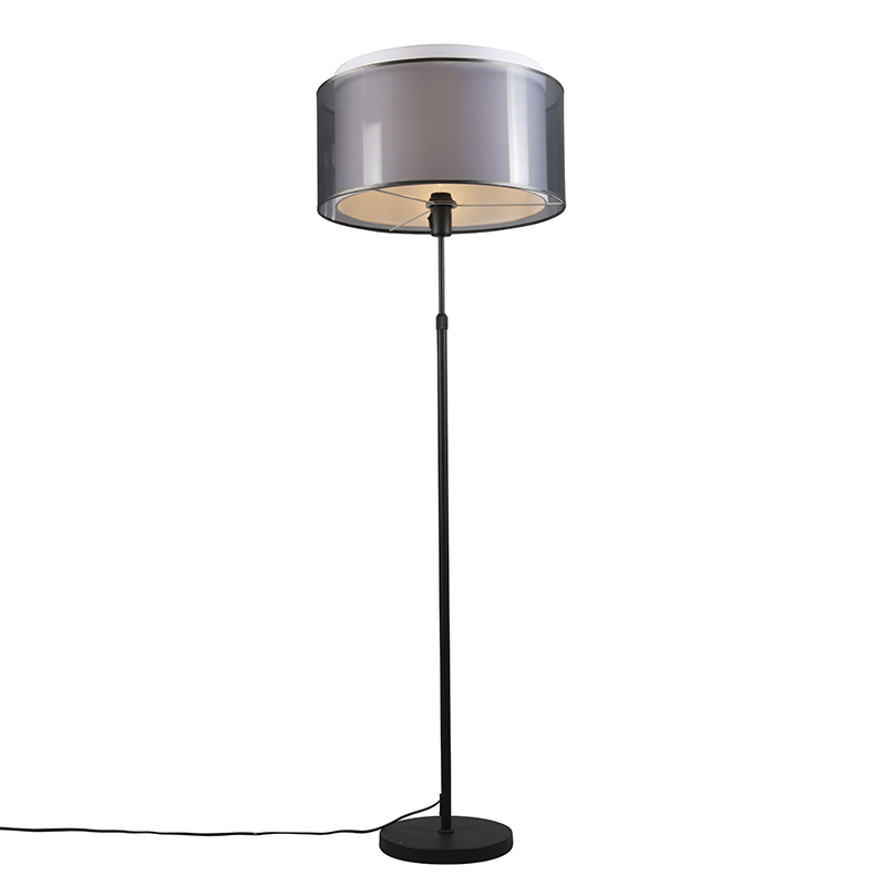 Lampa podłogowa regulowana czarna klosz czarno-biały 47cm - Parte