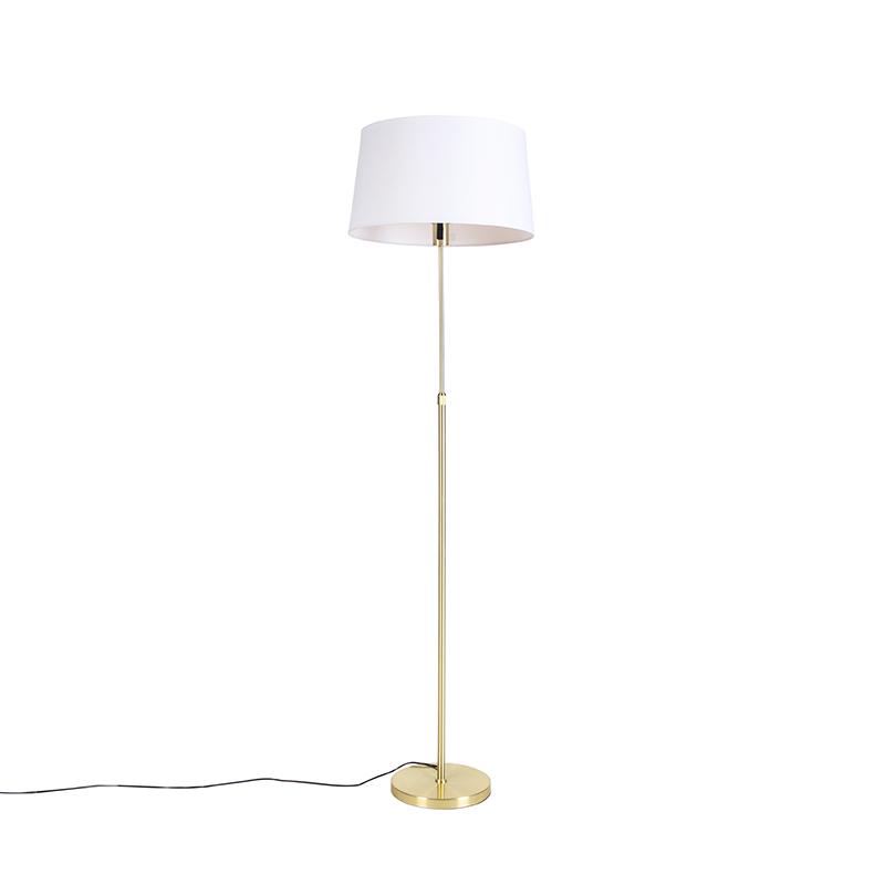 Vloerlamp goud/messing met linnen kap wit 45 cm - Parte