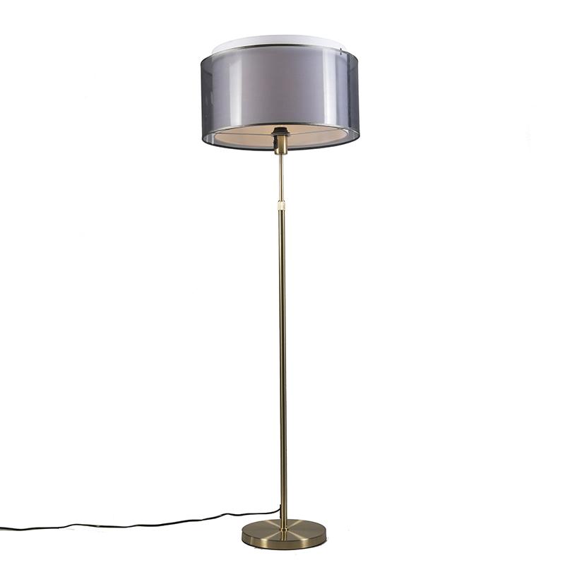 Vloerlamp goud/messing met zwart/witte kap 47 cm - Parte