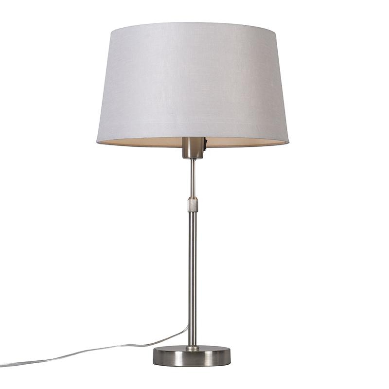 Tafellamp staal met kap lichtgrijs 35 cm verstelbaar - Parte
