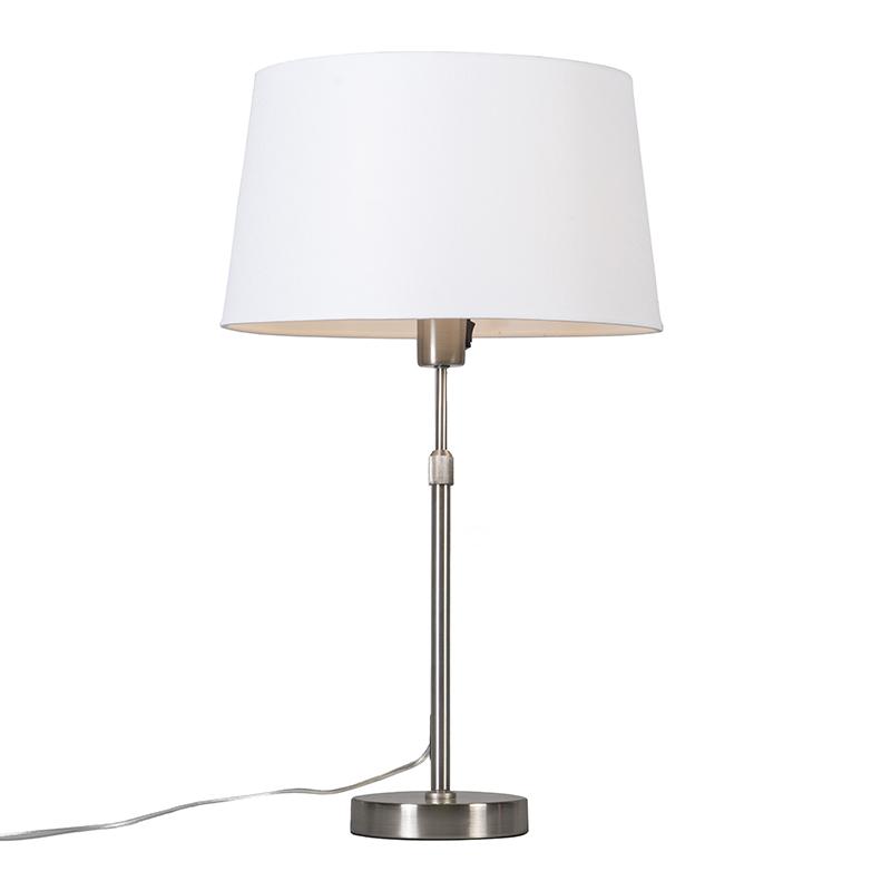 Tafellamp staal met kap wit 35 cm verstelbaar - Parte