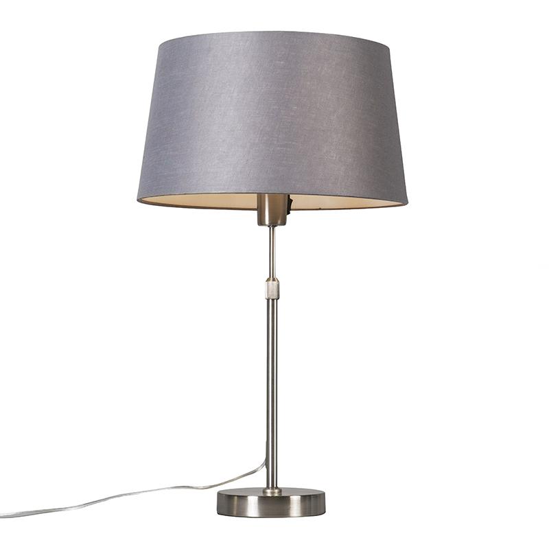 Design tafellamp staal met grijze kap - Parte