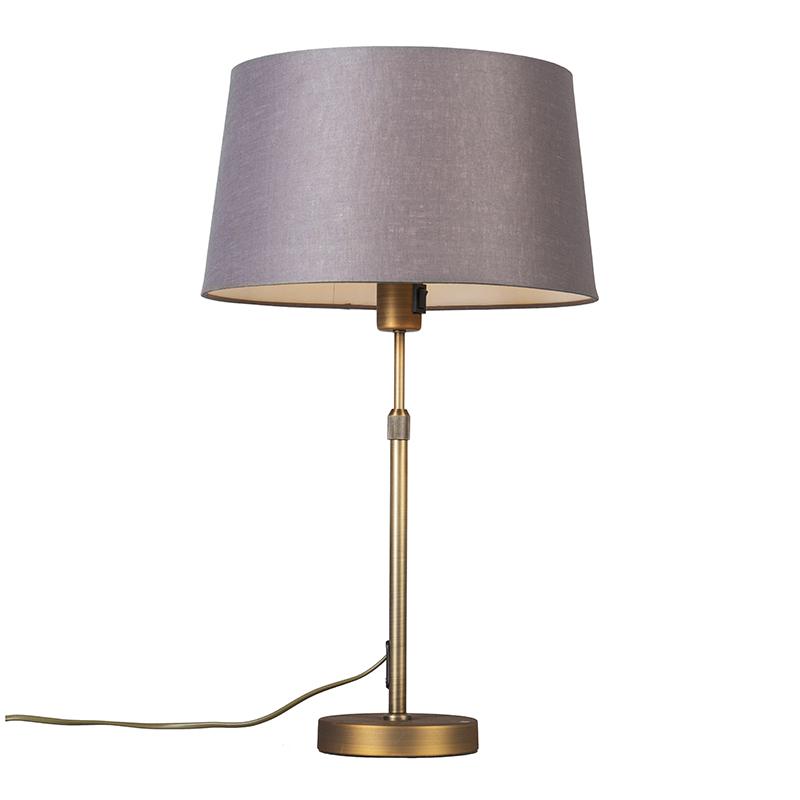 Tafellamp Parte Brons met bruin grijze kap