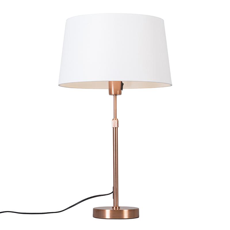 Tafellamp Parte koper met witte kap