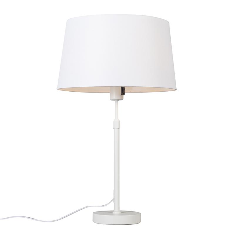Tafellamp wit met kap wit 35 cm verstelbaar - Parte