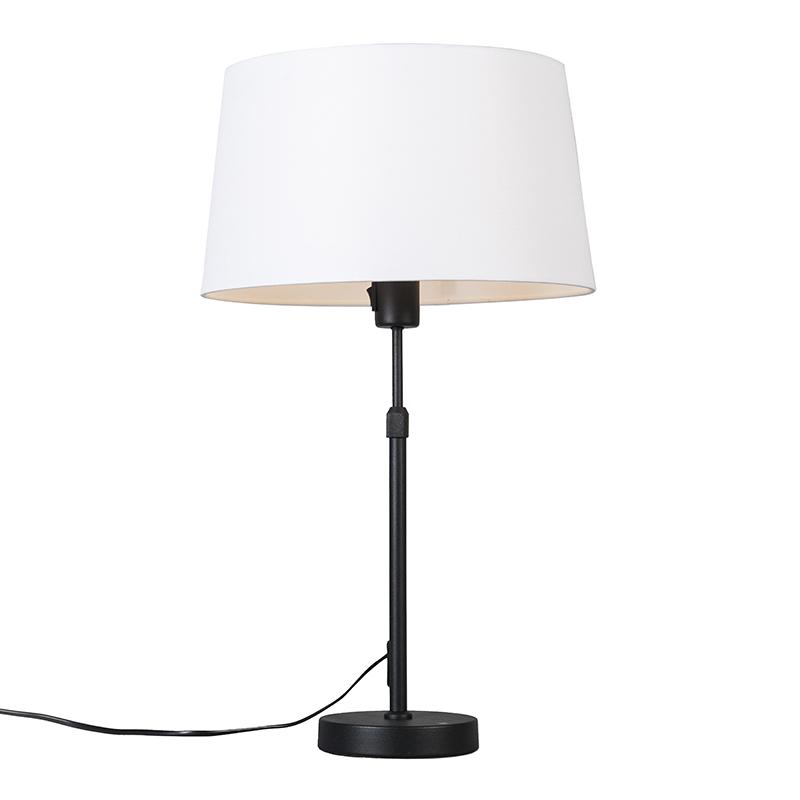 Tafellamp zwart met kap wit 35 cm verstelbaar - Parte
