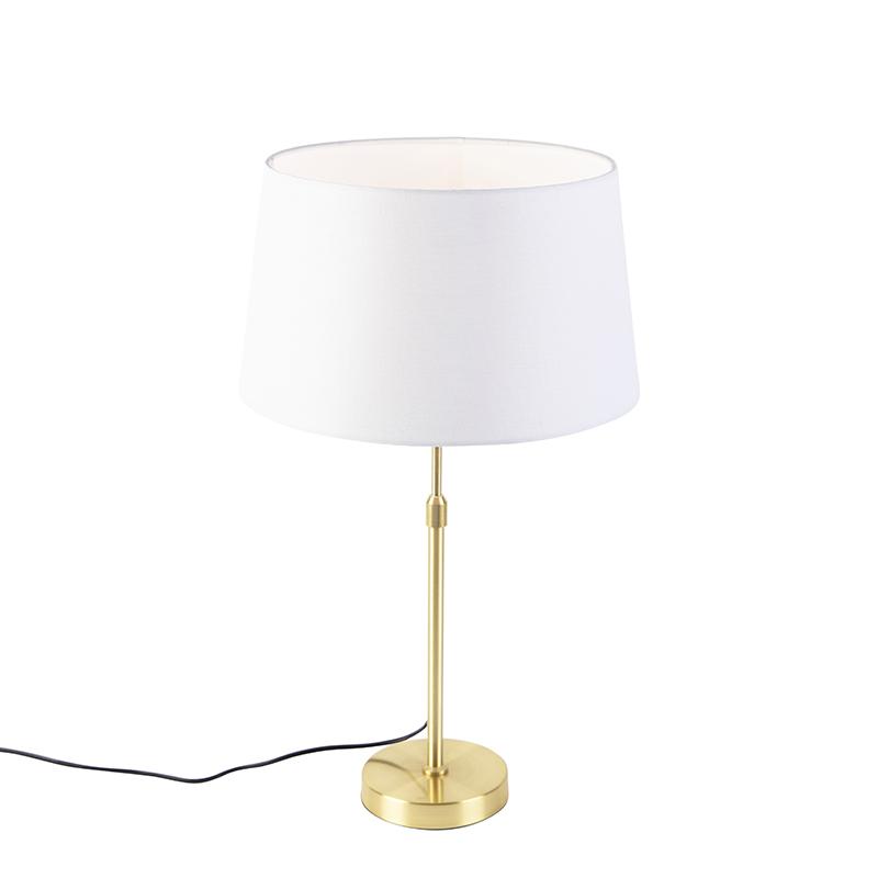 Gouden tafellamp met linnen kap wit 35 cm - Parte