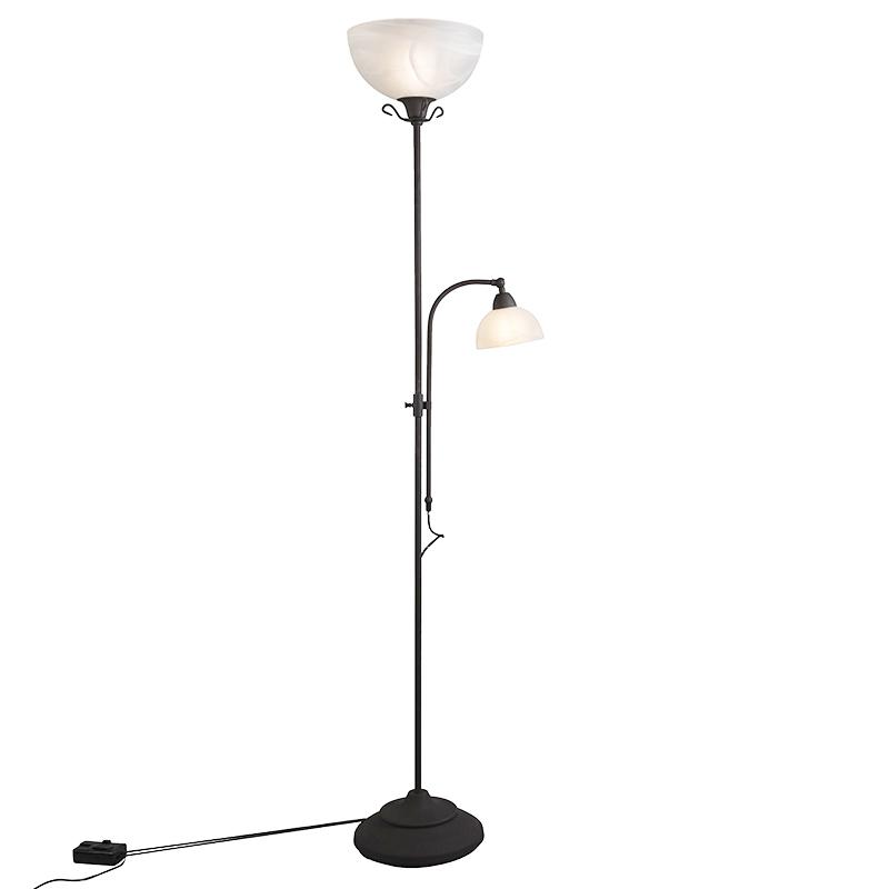 Klassieke vloerlamp bruin met leeslamp en dimmer - Dallas
