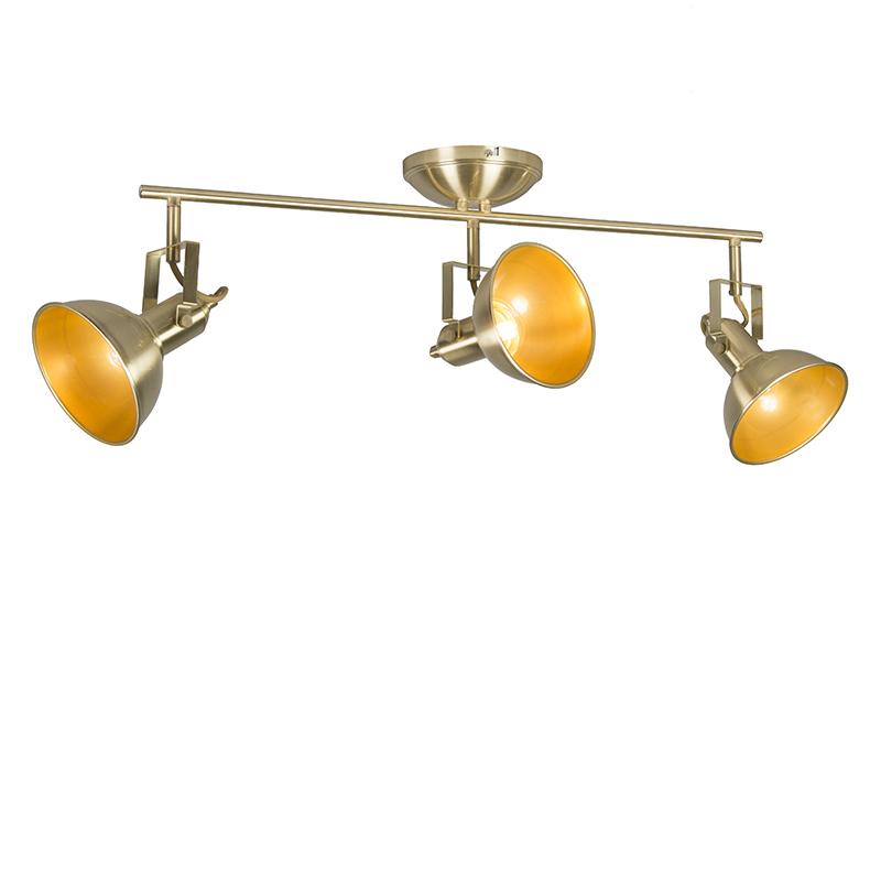 Plafondspot goud/messing 3-lichts draai- en kantelbaar - Tommy