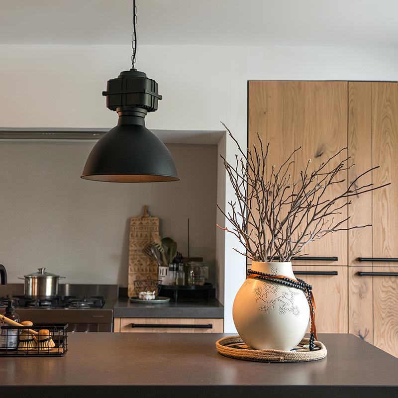 Industriële hanglamp klein mat zwart - Sicko