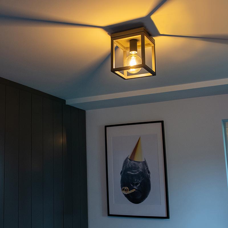 Industriële plafondlamp antraciet - Cage 1