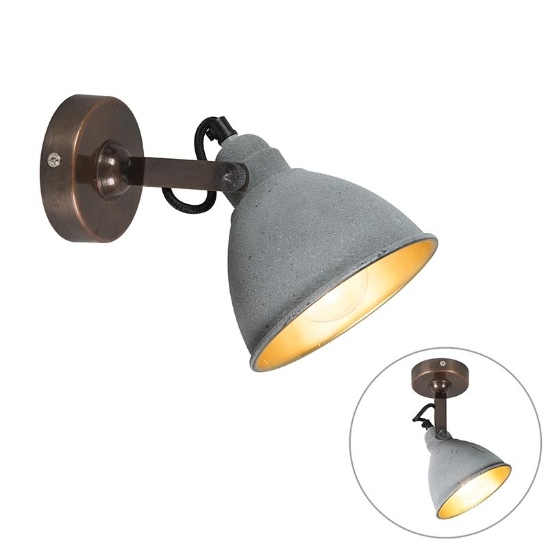 Industri�le wandlamp grijs met brons - Liko