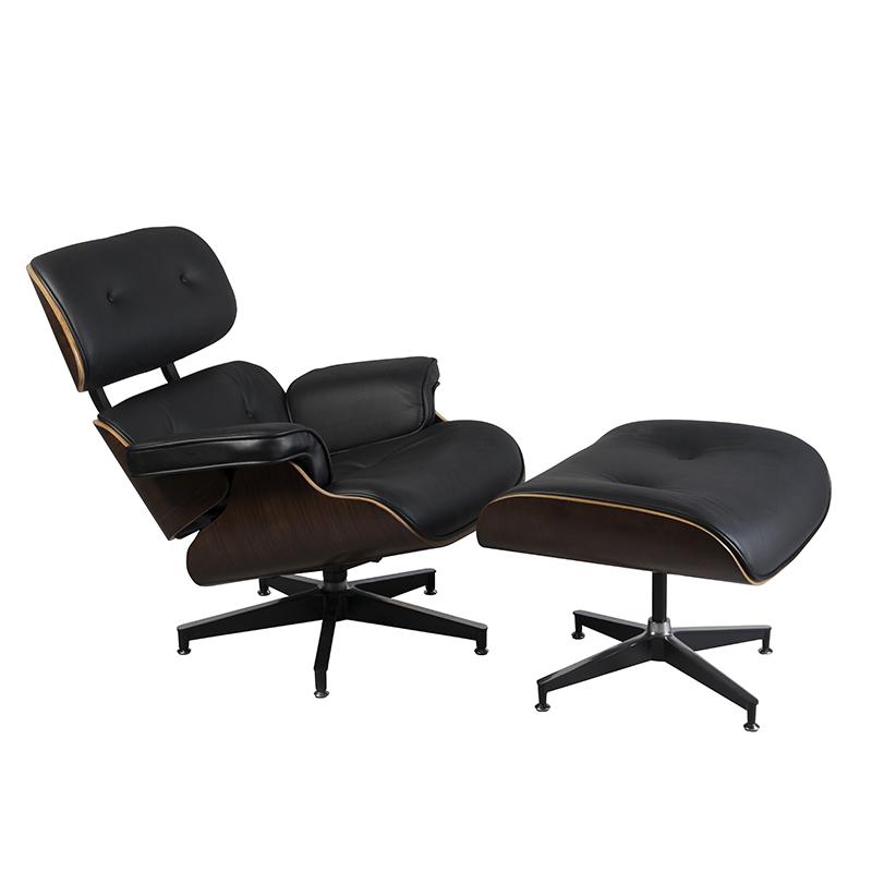 Black walnut stoel met voetenbankje
