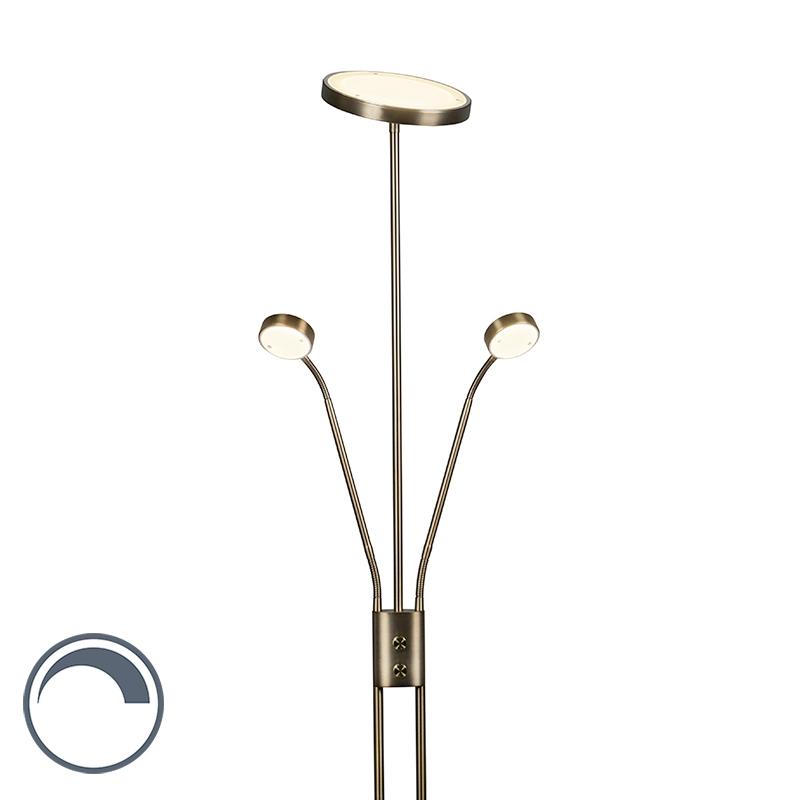 Uplighter Jazzy 2 met leeslampen rond brons