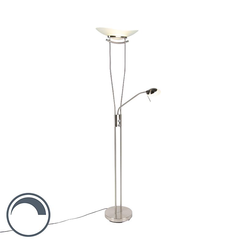 Nowoczesna lampa stojąca ze stali, w tym LED i ściemniacz - Lexus