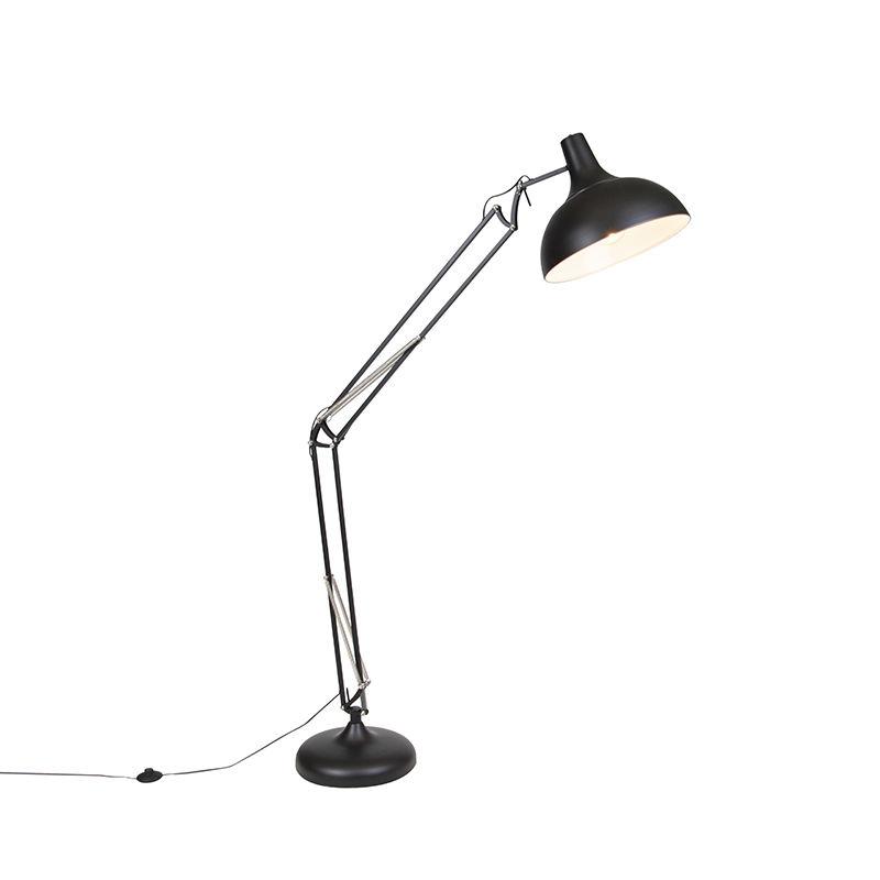 Przemysłowa lampa stojąca czarna regulowana - Hobby