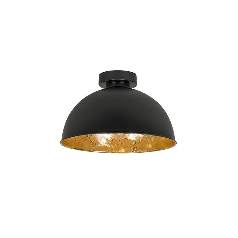 Plafondlamp Magna Basic 30 mat zwart met gouden binnenkant