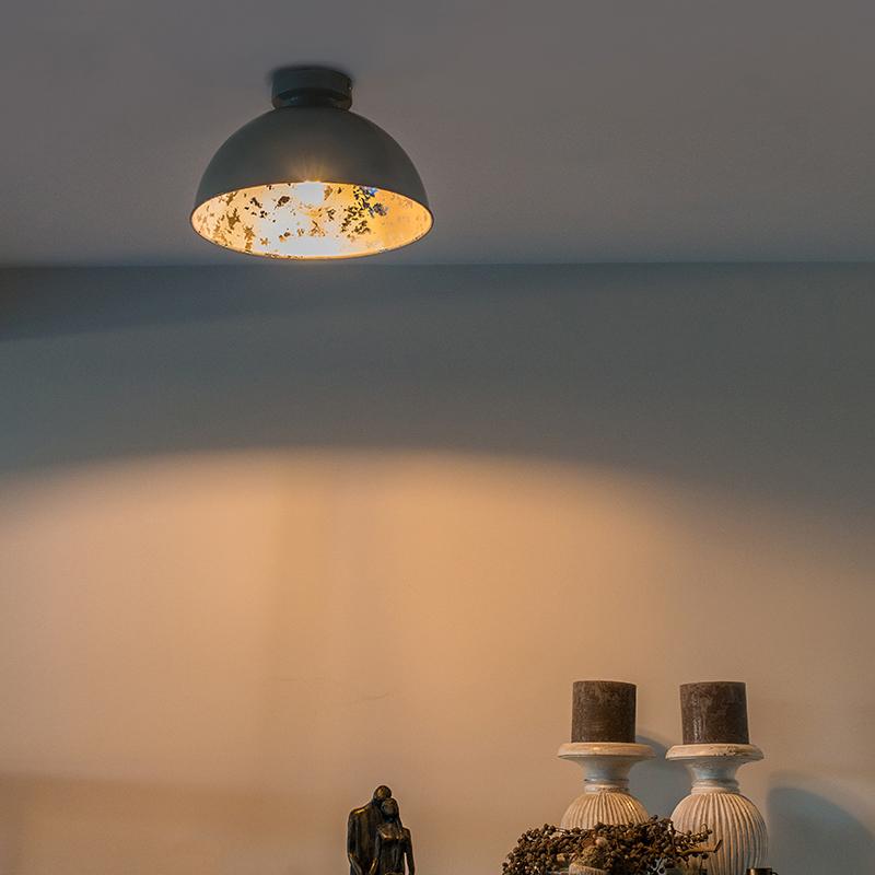 Plafondlamp grijs met zilver 30 cm - Magna Basic