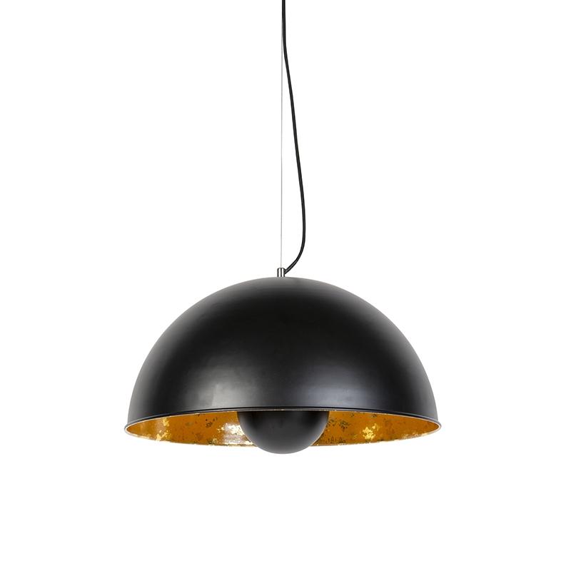 Hanglamp Magna 50 mat zwart met gouden binnenkant