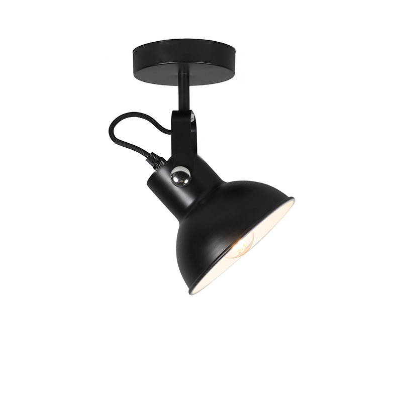 Przemysłowa lampa ścienna i sufitowa czarna uchylna - Guida