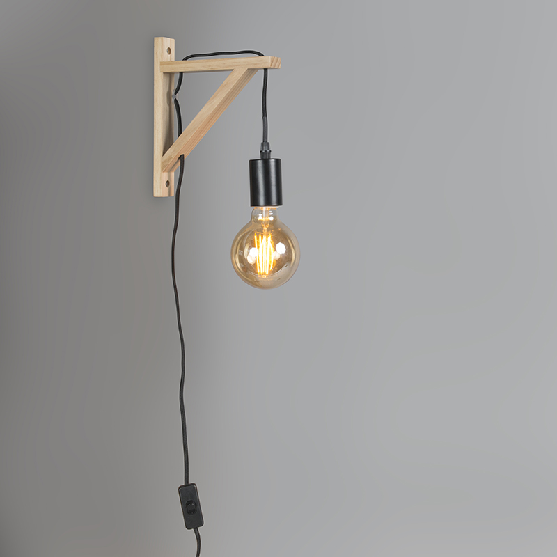 Wandlamp hout met zwart - Galgje