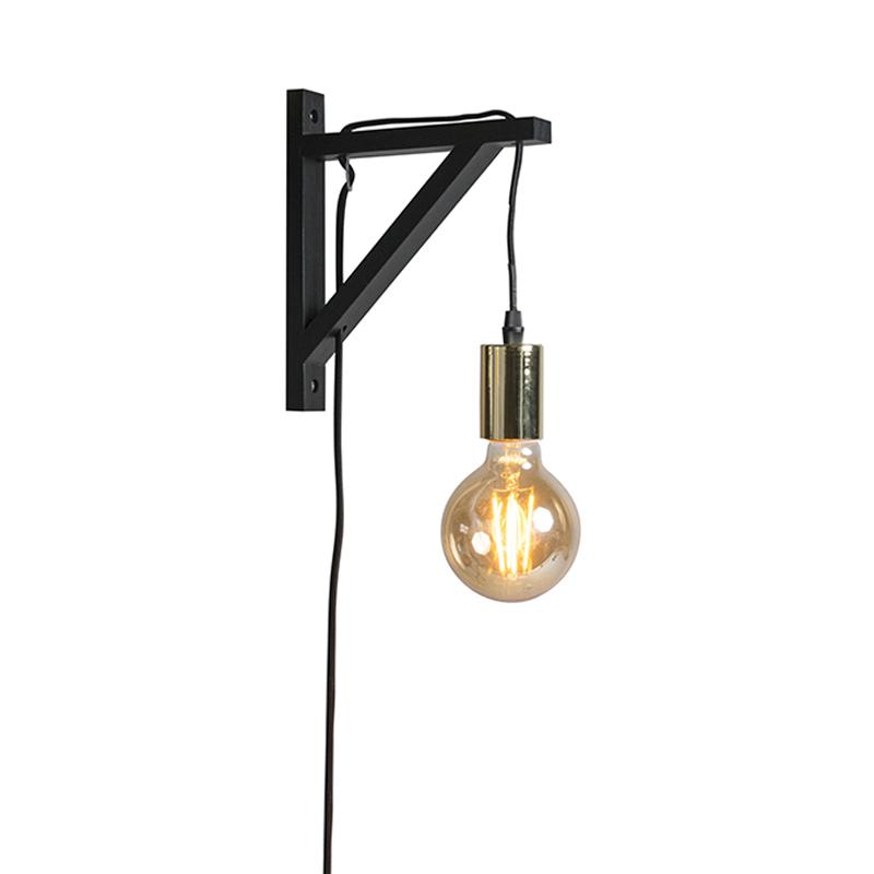 Nástenná lampa čierna so zlatom - Hangman