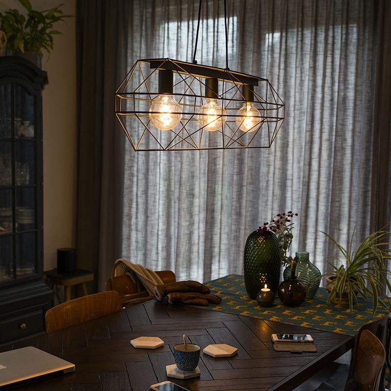Design hanglamp zwart metaal 3-lichts - Frame