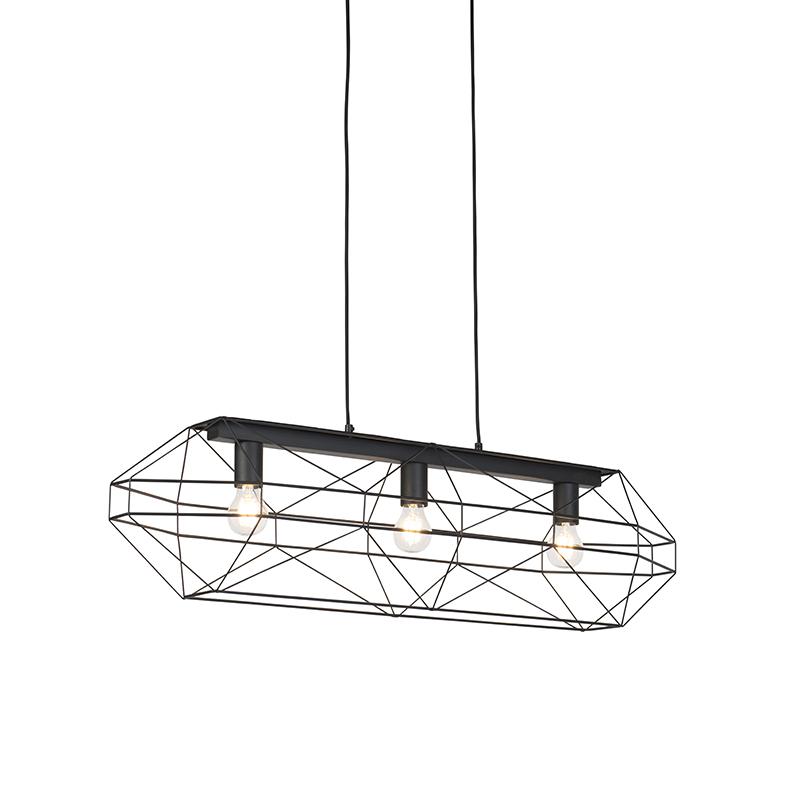 Przemysłowa lampa wisząca czarna 3-punktowa - Tusza