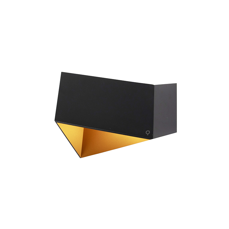 Design wandlamp zwart met goud - Fold