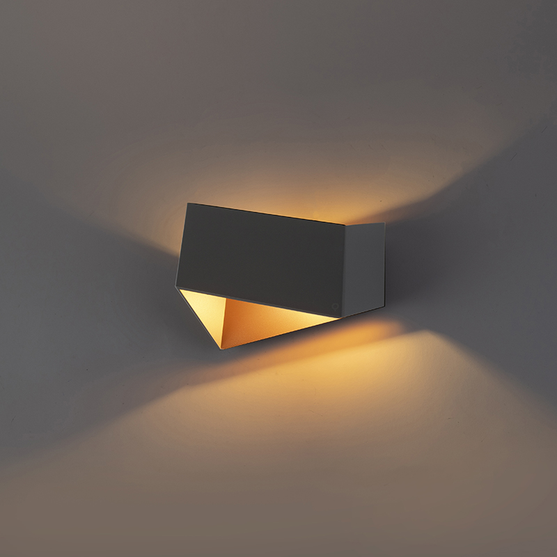 Wandlamp Fold grijs met koper
