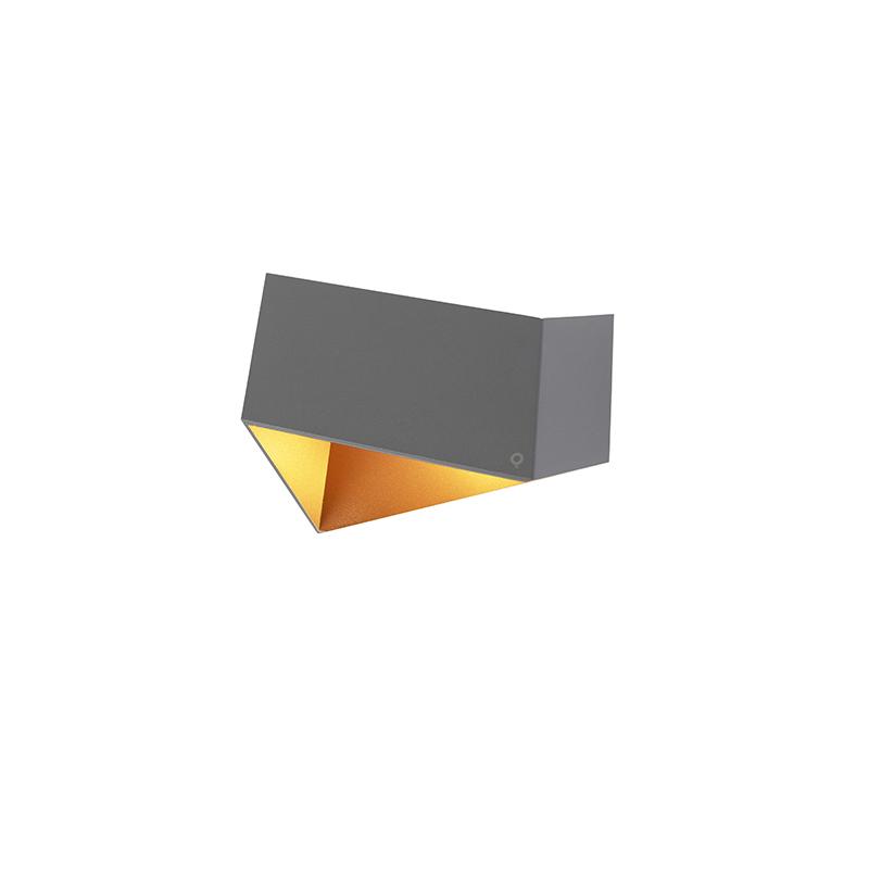 Design wandlamp grijs met koper - Fold