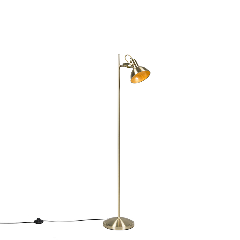 Industriele vloerlamp goud/messing 1-lichts - Tommy