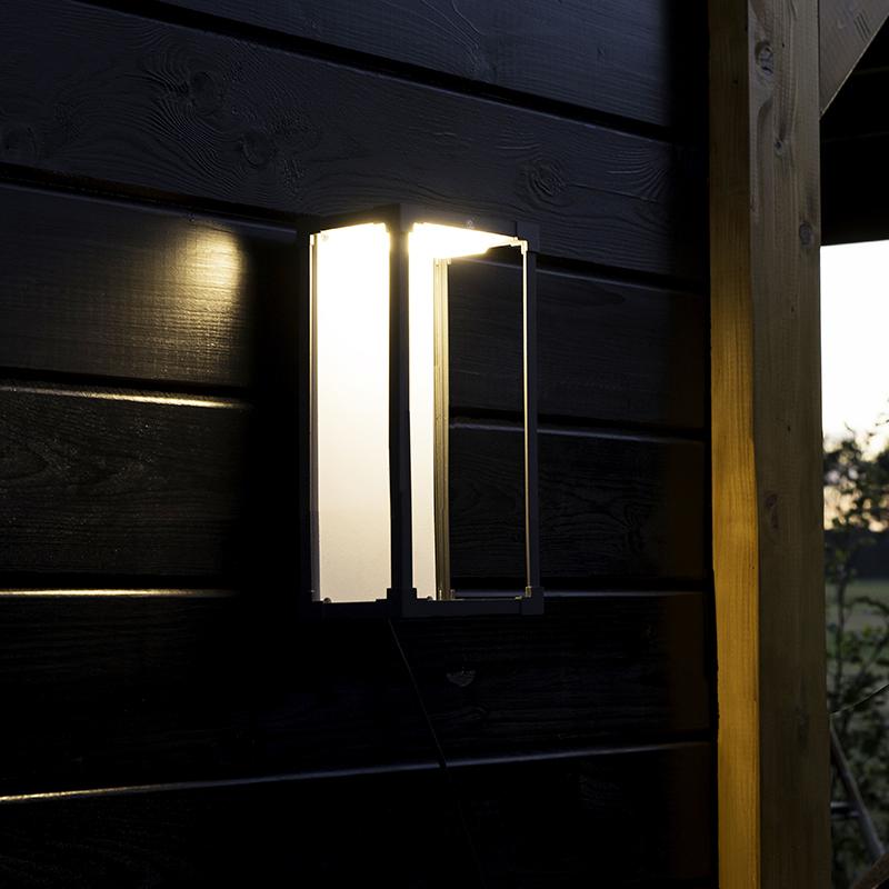 Moderne Rechthoekige Buitenwandlamp Donkergrijs Met Wit - Rotterdam