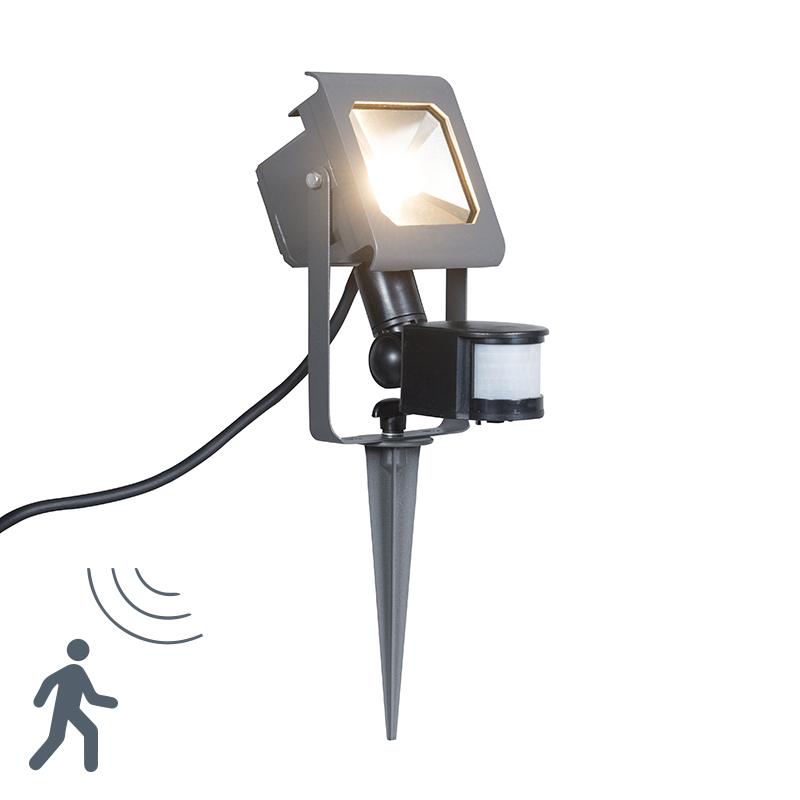 LED straler donkergrijs 10W met bewegingsmelder en grondpin - Radius 2