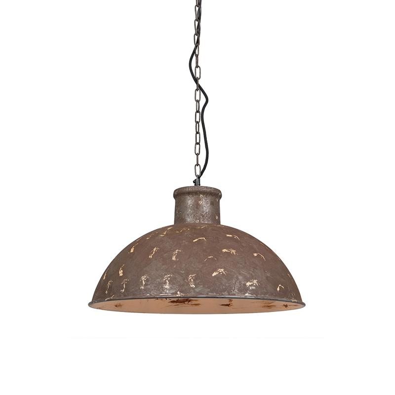 Stoere hanglamp Raider verweerd bruin met witte binnenkant