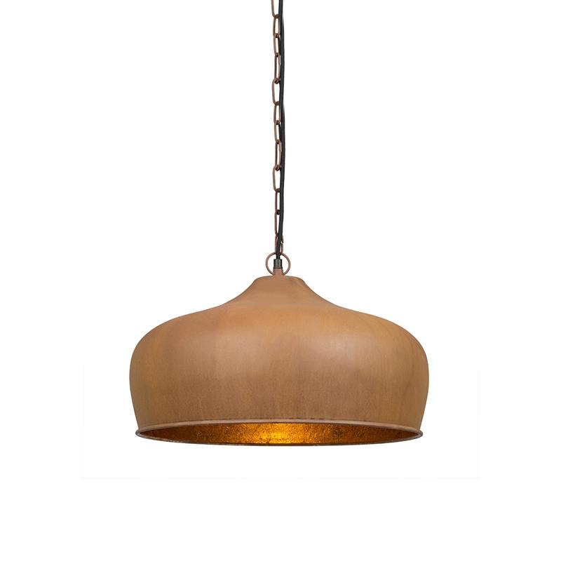 Hanglamp Colt roestkleur met gouden binnenkant