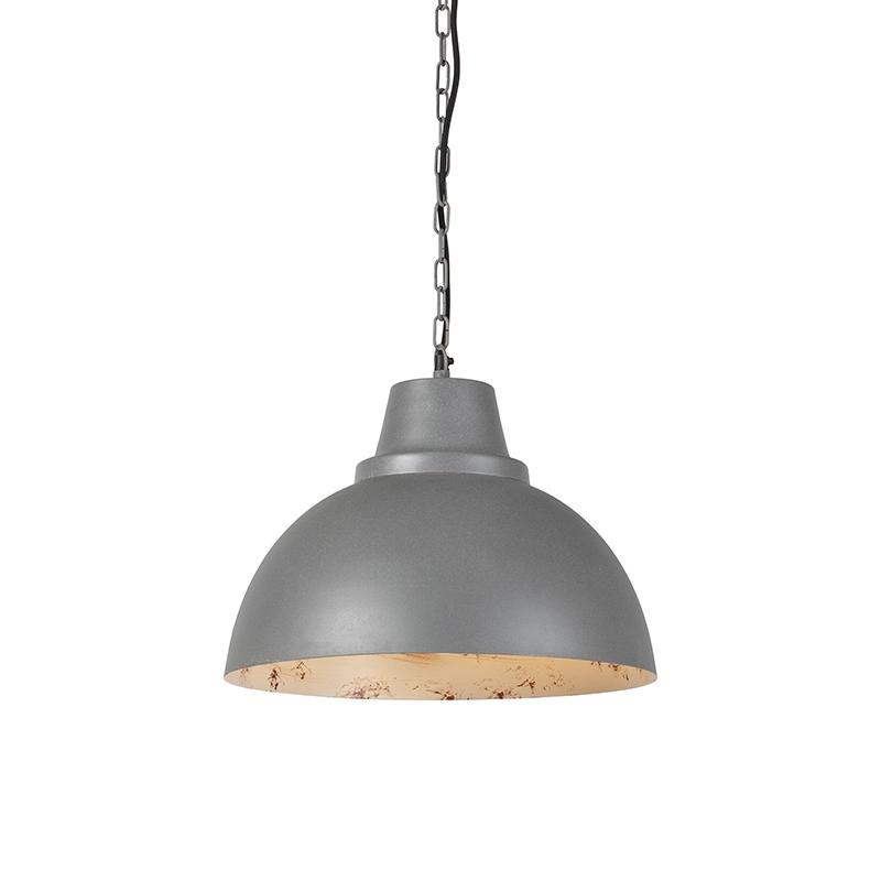 Industriele ronde hanglamp grijs met witte binnenkant - Falco