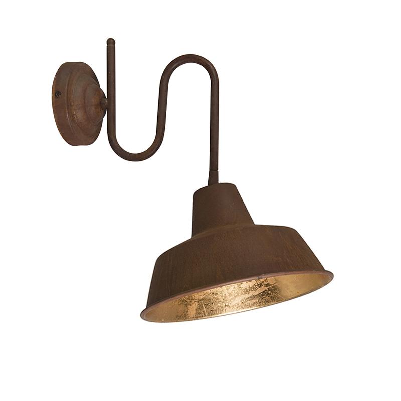 Industri�le wandlamp roest met gouden binnenkant - Factory