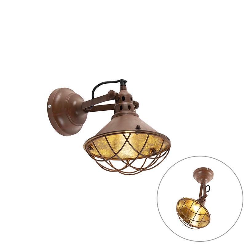 Vintage lampa ścienna i sufitowa rdza brązowy uchylna - Barrack