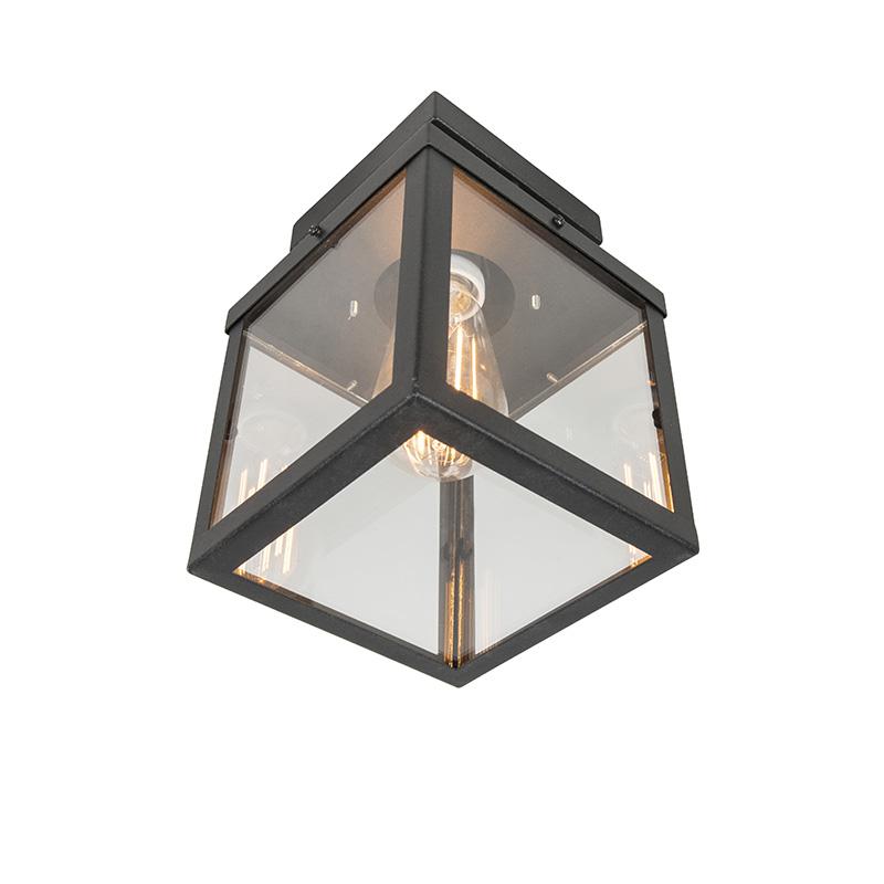 Moderne vierkante buitenplafondlamp zwart 1-lichts - Rotterdam