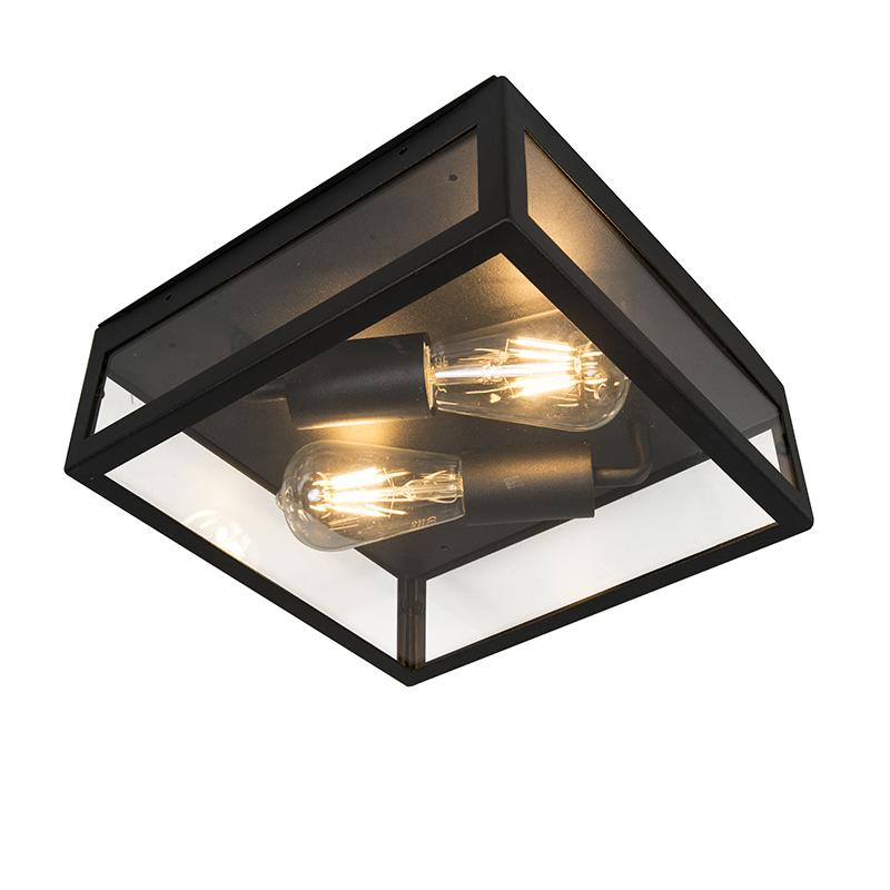 Moderne vierkante buitenplafondlamp zwart 2-lichts - Rotterdam