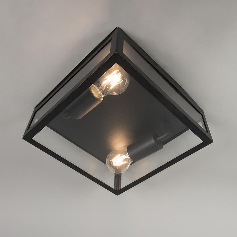 Moderne vierkante buitenplafondlamp zwart 2-lichts – Rotterdam