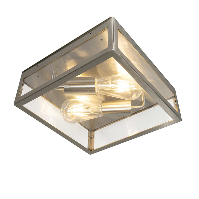 Moderne vierkante buitenplafondlamp staal 2-lichts - Rotterdam