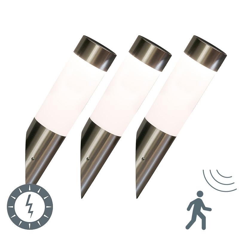 Set van 3 buitenlampen staal op zonne-energie incl. LED - Rox