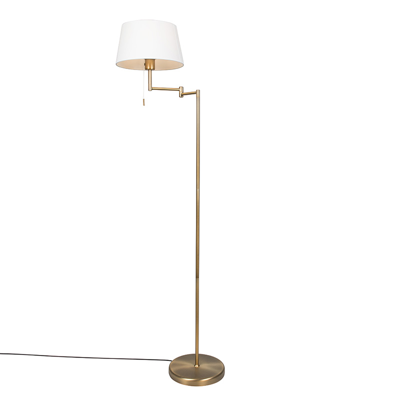 Vloerlamp Ladas brons met kap wit