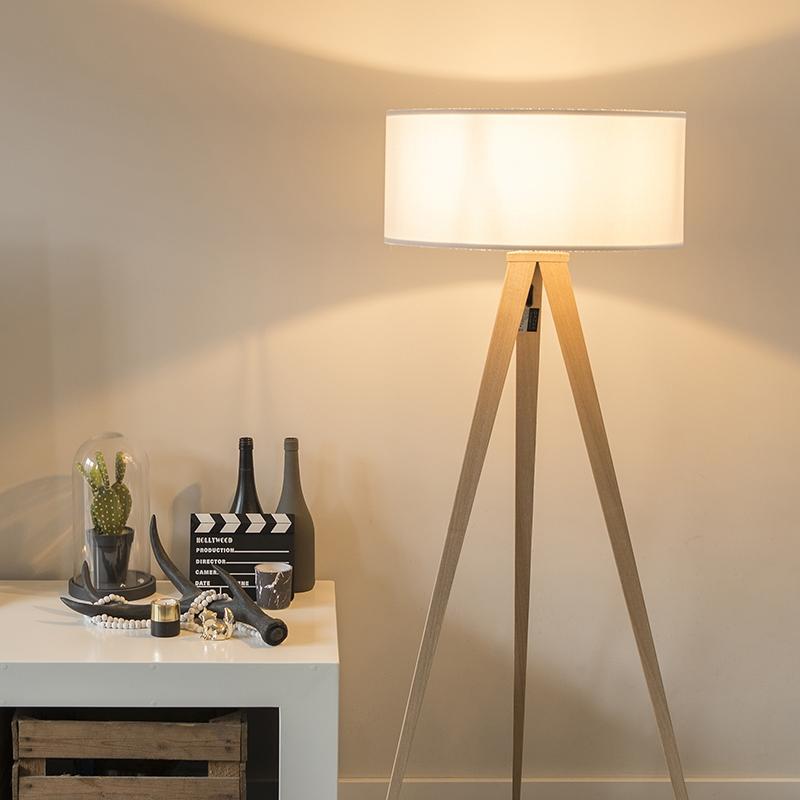 Moderne vloerlamp hout met witte kap - Tripe