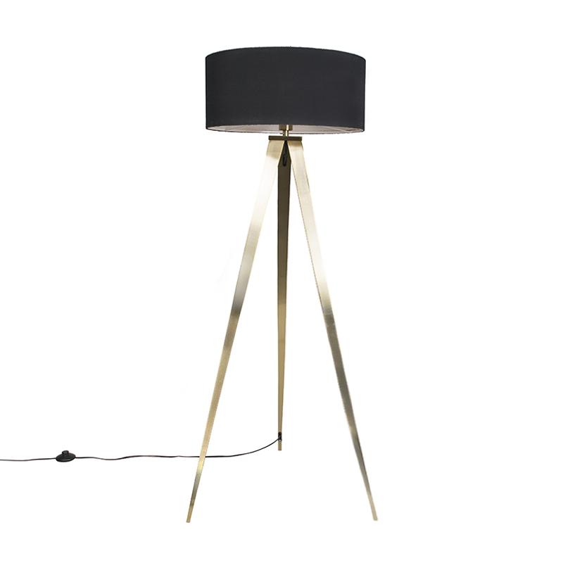 Nowoczesna lampa podłogowa mosiądz klosz czarny - Tripe